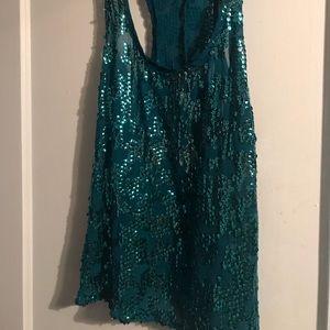 Tops - Turquoise sequin tank top